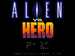Alien VS Hero Game Title Screen
