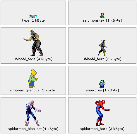 8 out of 492 unique cropped gaming characters.